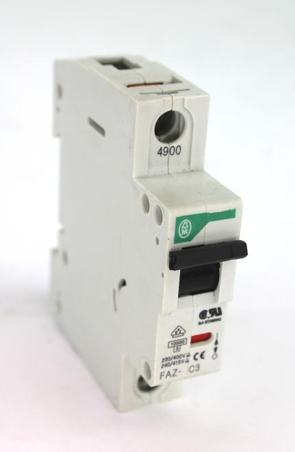 Klockner Moeller FAZ-C3 Circuit Breaker. 230/400Vac 1Pole