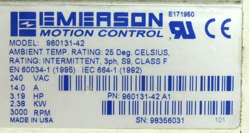 Emerson 960131-42 Brushless Servo Motor 240Vac 14.0A 3.19Hp 2.38Kw 3000RPM