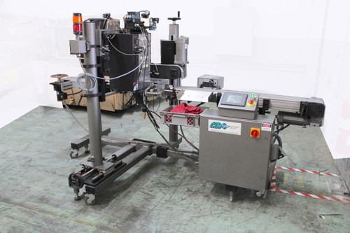 CTM 3600-PA Label Applicator with Tamper 10' Conveyor Sato M-8490Se Printer