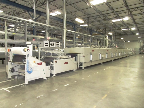 A&M Kinzel 2 Color Flatbed Screen Printing Line w/ UV Curing & Camera Inspection