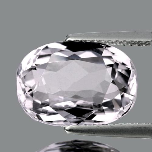 14.5x9.5 mm Oval 6.58cts Sparkling Luster Natural White Kunzite [VVS]