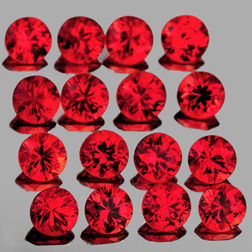 2.20 mm 16 pcs Round Extreme Brilliancy Natural Orange Red Sapphire [Flawless-VVS]