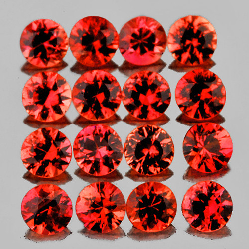 2.20 mm 16 pcs Round Extreme Brilliancy Natural Pinkish Red Sapphire [Flawless-VVS]