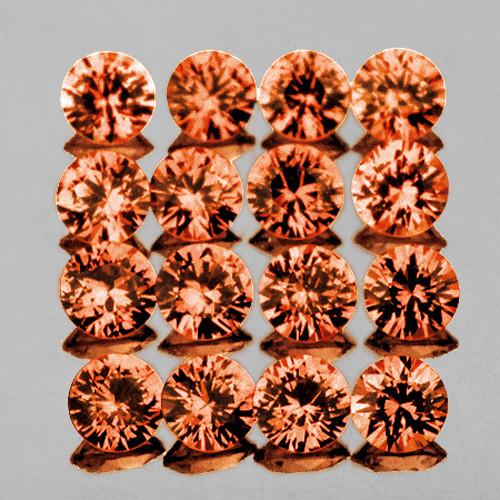 2.20 mm 16 pcs Round Extreme Brilliancy Natural Peach Orange Sapphire [Flawless-VVS]-AAA Grade