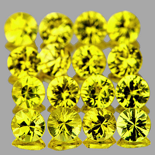 2.20 mm 16pcs Round Extreme Brilliancy Natural Canary Yellow Sapphire [Flawless-VVS]-AAA Grade