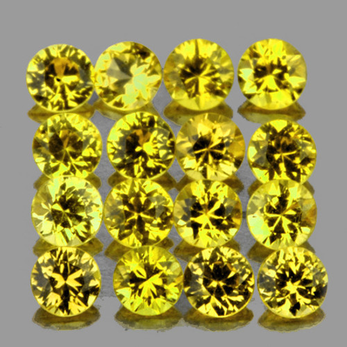 2.20 mm 16pcs Round Extreme Brilliancy Natural Bright Yellow Sapphire [Flawless-VVS]-AAA Grade