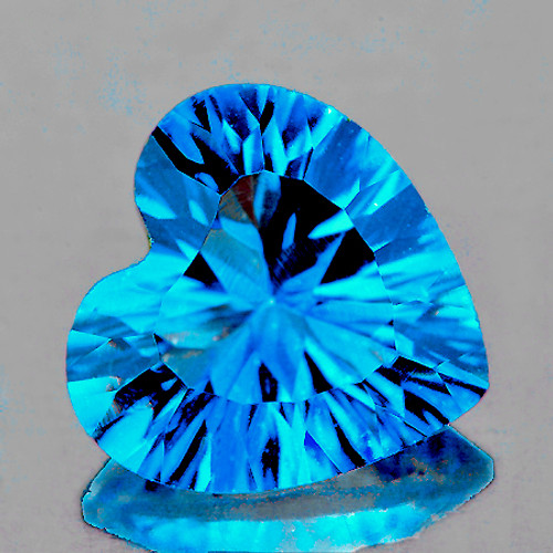 10.00 mm Heart Concave 1 piece AAA Fire Luster Natural Swiss Blue Topaz [Flawless-VVS]