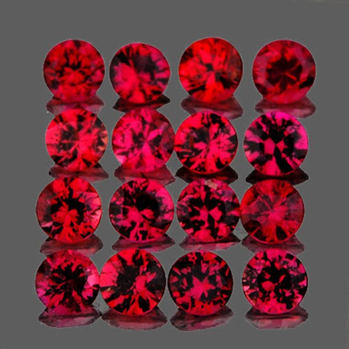 2.50 mm Round 16 pieces Machine Cut Natural Pink Red Mogok Spinel [Flawless-VVS]