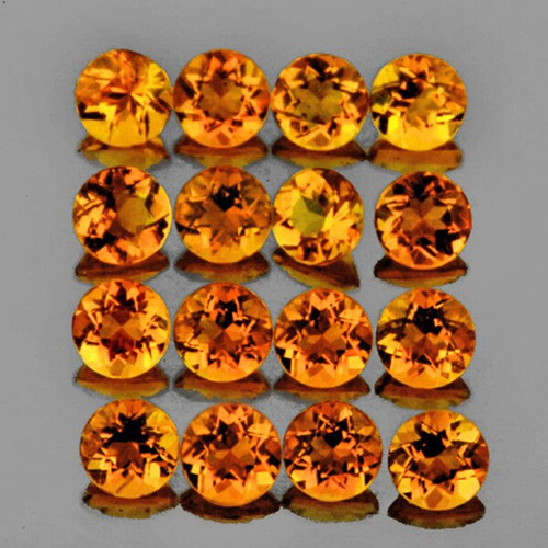 3.00 mm ROUND 25 PIECES NATURAL AAA INTENSE ORANGE CITRINE [IF-VVS]