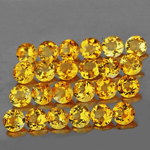 0.80 mm ROUND 100 PIECES NATURAL MACHINE CUT GOLDEN YELLOW CITRINE [FLAWLESS-VVS]