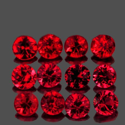 2.80 mm Round 12 pieces Machine Cut Natural AAA Red Mogok Spinel [Flawless-VVS]