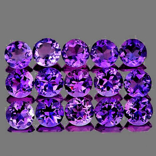 3.00 mm Round 30 pcs Brilliant Fire Luster Natural Intense Purple Amethyst [IF-VVS]