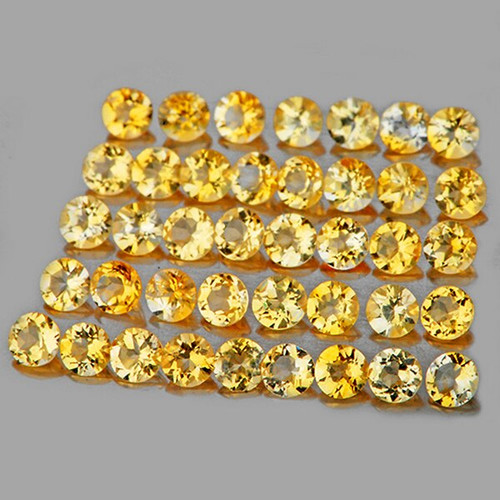 1.50 mm ROUND 70 PIECES NATURAL BRILLIANT GOLDEN YELLOW CITRINE [IF-VVS]