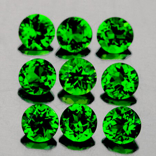3.00 mm Round 9 Pieces Natural Unheated Chrome Green Diopside [Flawless-VVS]