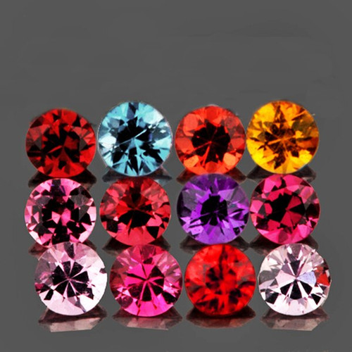 2.70 mm Round 12 pieces Machine Cut Natural Multi-Color Mogok Spinel [Flawless-VVS]