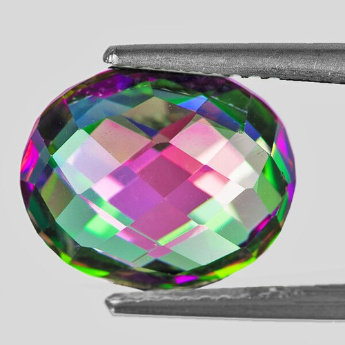 11x9 mm OVAL DOUBLE CHECKER NATURAL RAINBOW MYSTIC TOPAZ [FLAWLESS-VVS]