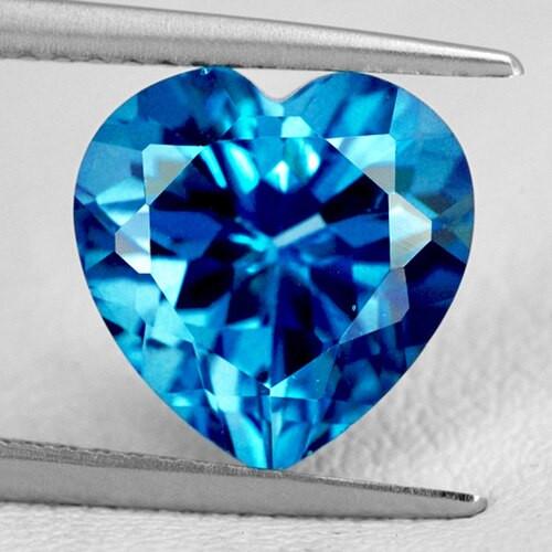 7.00 mm HEART EXCELLENT NATURAL LONDON BLUE TOPAZ [FLAWLESS-VVS]