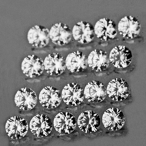 2.00 mm ROUND 20 PIECES NATURAL AAA+ DIAMOND WHITE ZIRCON [FLAWLESS-VVS]