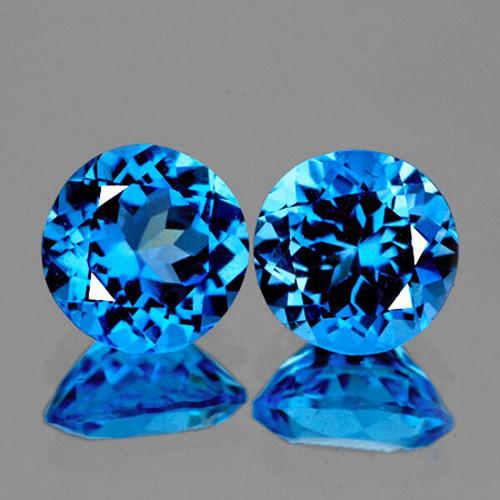 6.00 mm Round 2 Pieces Natural Intense Swiss Blue Topaz [Flawless-VVS]