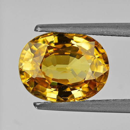 10x8 mm Oval 4.06cts Natural Brilliant Golden Yellow Zircon [Flawless-VVS]