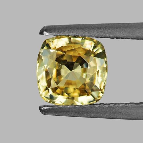 6.00 mm Cushion 1.51cts Natural Brilliant Yellow Zircon [Flawless-VVS]