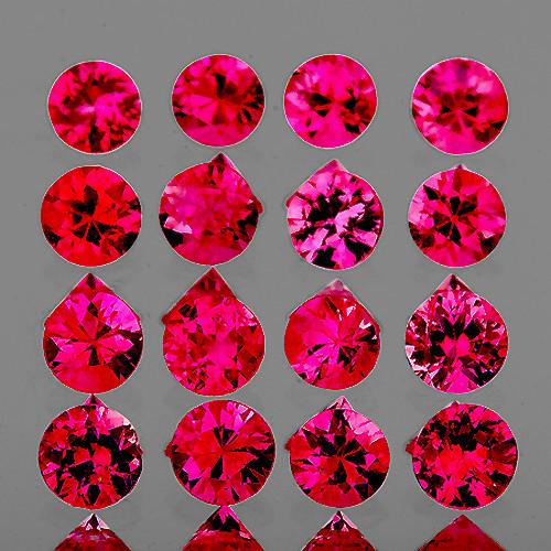 2.20 mm Round Machine Cut 16pcs Pinkish Red Ruby [IF-VVS1] {Unheated AAA Grade}