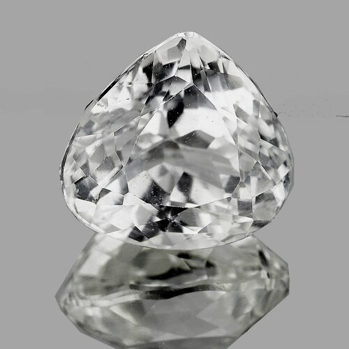 11.5x11 mm Pear 6.38cts Natural Brilliant White Kunzite [VVS]