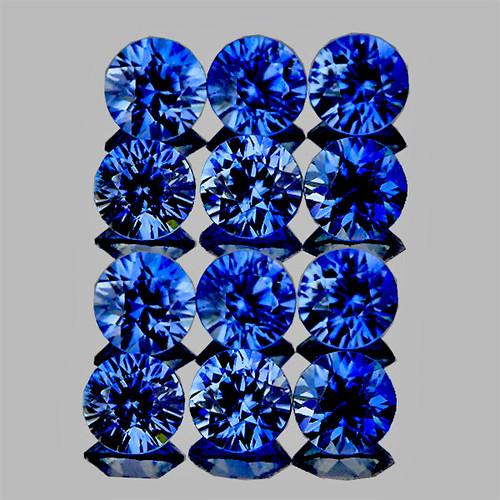 2.50 mm Round Machine Cut 12 pieces Natural AAA Ceylon Blue Sapphire [Flawless-VVS]-{AAA Grade}