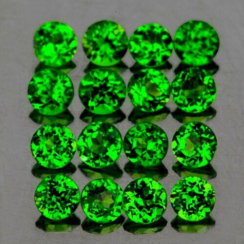 2.50 mm Round 16 pcs Natural Unheated Chrome Green Diopside [Flawless-VVS]