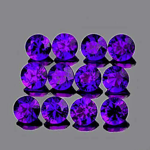 2.50 mm Round Machine Cut 12pcs Natural Intense Purple Sapphire [IF-VVS] {Unheated AAA Grade}