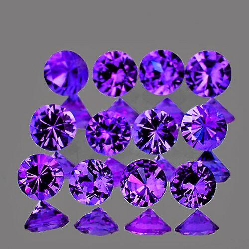 2.50 mm Round Machine Cut 12pcs Natural Purple Sapphire [IF-VVS] {Unheated AAA Grade}