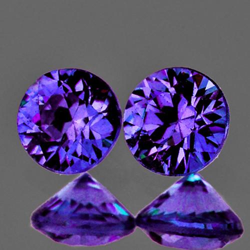 3.70 mm Round Machine Cut 2pcs Natural Intense Purple Sapphire [IF-VVS] {Unheated AAA Grade}
