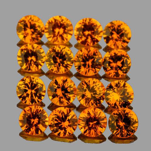 1.80 mm 30 pcs Round Extreme Brilliancy Natural Orange Yellow Sapphire [Flawless-VVS]