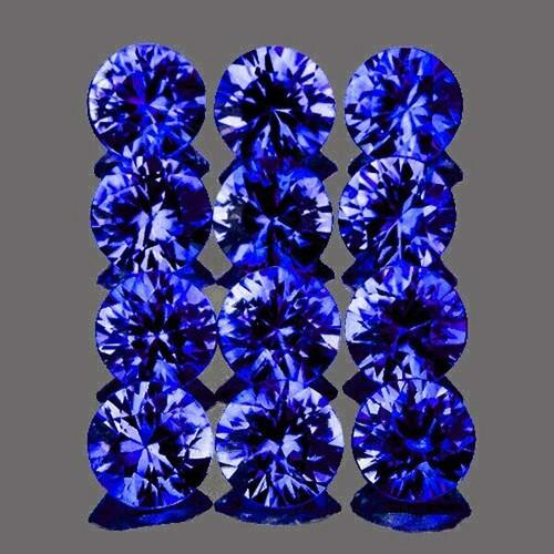 2.50 mm Round  12pcs AAA Fire Natural Intense Violet-Blue Sapphire [Flawless-VVS] {Unheated AAA Grade}