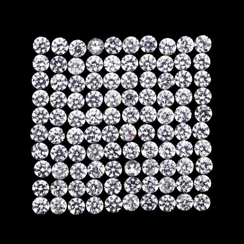 1.00 mm Round Machine Cut 100 pcs Natural Diamond White Zircon [Flawless-VVS]-AAA Grade