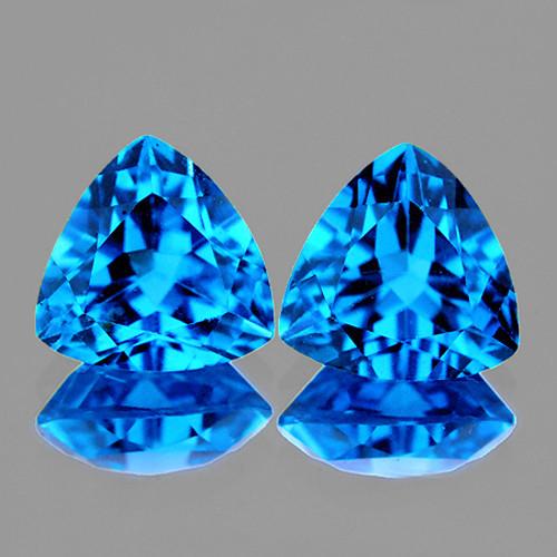 9.00 mm Trillion 2 pcs AAA Luster Natural Swiss Blue Topaz [Flawless-VVS]