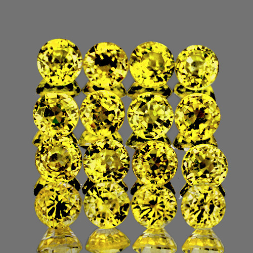 2.20 mm Round Machine Step Cut 16 pcs AAA Fire Natural Ceylon Yellow Sapphire [IF-VVS]-AAA Grade