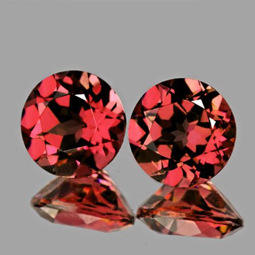 5.00 mm Round 2 pcs AAA Fire Natural Orange Pink Rhodolite Garnet [Flawless-VVS]