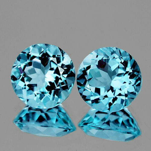 7.00 mm Round 2 pieces Fire Luster Natural Sparkling Sky Blue Topaz [Flawless-VVS]