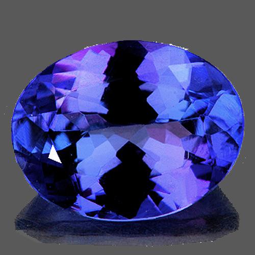 8x6 mm Oval 1.28cts AAA Fire Luster Natural Brilliant Intense Purple Blue Tanzanite [Flawless-VVS]-AAA Grade