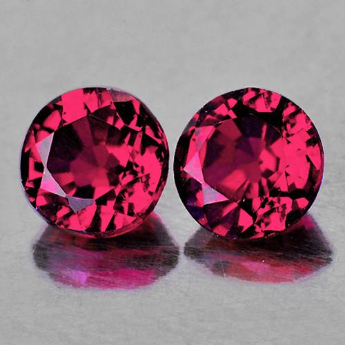 5.00 mm Round 2 pieces AAA Fire Natural Raspberry Pink Rhodolite Garnet [Flawless-VVS]