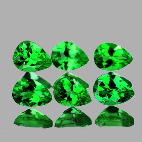 4.5x3 mm Pear 6 pieces AAA Fire Natural Intense Chrome Green Tsavorite Garnet [Flawless-VVS]