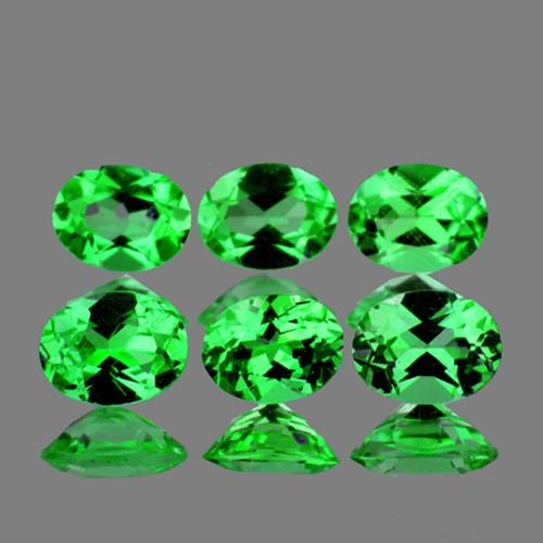 3.5x3 mm Oval 6 pieces AAA Fire Natural Intense Chrome Green Tsavorite Garnet [Flawless-VVS]