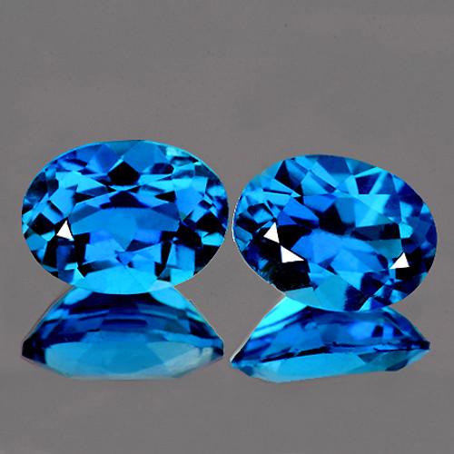 8x6 mm Oval 2 Pcs AAA Luster Natural Brilliant London Blue Topaz [Flawless-VVS]