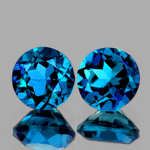 6.00 mm Round 2 Pieces AAA Fire Luster Natural London Blue Topaz [Flawless-VVS]