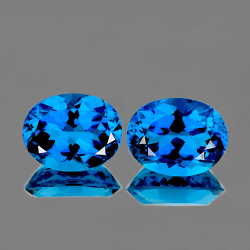 10x8 mm Oval 2 Pieces AAA Fire Luster Natural London Blue Topaz [Flawless-VVS]
