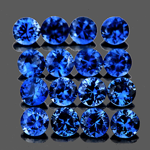 2.40 mm Round Machine Cut 16pcs Natural AAA Ceylon Blue Sapphire [Flawless-VVS]-{AAA Grade}