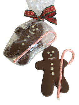 Chocolate Gingerbread Man with Candy Cane