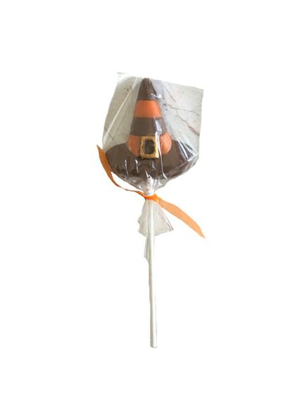 Orange Striped Chocolate Witch Hat Lollipop