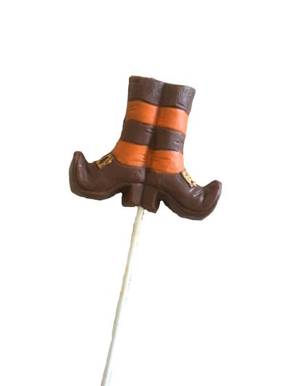 Orange Striped Chocolate Witch Boots Lollipop